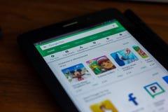 Google sztuki sklep app na pokazie pastylka Ryazan Rosja, Marzec - 21, 2018 - Fotografia Stock