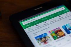 Google sztuki sklep app na pokazie pastylka Ryazan Rosja, Marzec - 21, 2018 - Zdjęcia Royalty Free