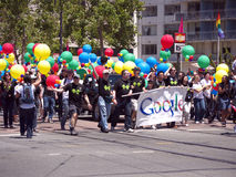 Google team, Pride Parade San Francisco 2010. Google participated this year with a large team. San Francisco's Pride Parade is an event with lots of participants Royalty Free Stock Photography