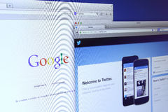 Google and Twitter website Stock Image