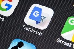 Google vertaalt toepassingspictogram op Apple-iPhone X het schermclose-up Google vertaalt pictogram Google vertaalt toepassing so Royalty-vrije Stock Afbeelding