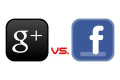 Google+ vs Facebook. Clash of the giants in the market of social networking sites, a new Google product, Google Plus versus Facebook Royalty Free Stock Image