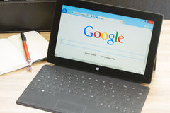 Google. WARSZAWA, POLAND - OCTOBER 10, 2014. Google search page on screen of Windows tablet Surface.  In December 2013 Alexa listed google.com as the most Stock Photo