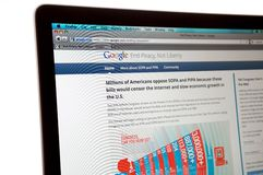 Google website during the internet blackout Stock Photography