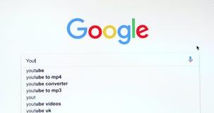 Google-Zoekmachinezoeken voor YouTube stock video