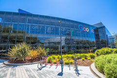 Googleplex Mountain View. Mountain View, CA, United States - August 15, 2016: bikes used by Google employees to move around the Googleplex. Google is a stock photo