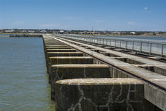 Goolwa Barrage & Lock, South Australia. Goolwa Barrage Lock, South Australia. In landscape orientation looking out over the length of the lock from the Goolwa stock photos