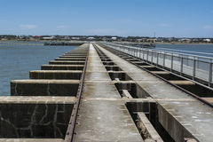 Goolwa Barrage & Lock, South Australia. Goolwa Barrage Lock, South Australia. In landscape orientation looking out over the length of the lock from the Goolwa stock image