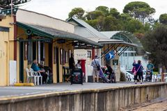 Goolwa train station on the fleurieu peninsula goolwa south australia on 3rd April 2019. The goolwa train station on the fleurieu peninsula goolwa south royalty free stock photography
