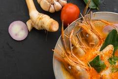 Goong da sopa ou do tom de ATom Yum yum, um camarão picante tradicional tailandês assim fotografia de stock