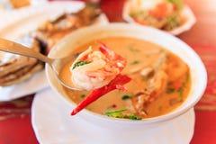 goong krewetki zupny korzenny Tom yum Fotografia Stock