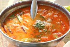 goong krewetki zupny korzenny Tom yum Zdjęcia Stock