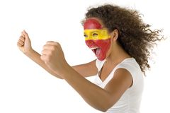Gooool!. Young female screaming Spanish fan with painted flag on faces. She's on white background. Side view Stock Images
