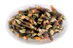 Goose barnacle. A tray with just cooked fresh barnacles Stock Photos