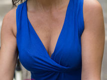 Goose bumps decolletage. Sexy woman goose-flesh decolletage Stock Photos