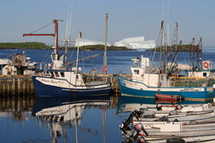 Goose Cove Boats and Icebergs Royalty Free Stock Photos
