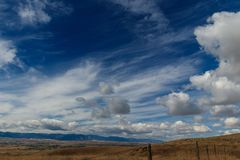 Goose Creek Valley, Bozeman Trail, Wyoming. Breathaking landscape of Goose Creek Valley and Big Horn Mountains, Sheridan Wyoming, USA Stock Image
