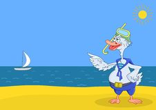 Goose diver on a beach royalty free illustration