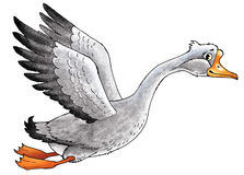 Goose drawing  bird   beak flies. Paw wings  fairy tale character Royalty Free Stock Photo