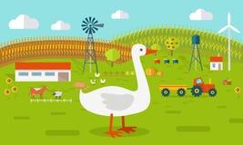 Goose on Farmyard Concept Illustration. Royalty Free Stock Image