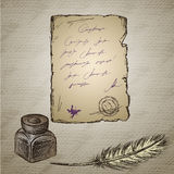 Goose feather, elegant old-fashioned decorative inkpot ,old pap Royalty Free Stock Photography