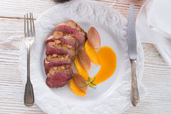 Goose fillet with orange sherry sauce Stock Photos