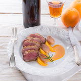 Goose fillet with orange sherry sauce Royalty Free Stock Images