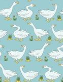 Goose gander vintage seamless vector pattern. Goose gander vintage farm bird seamless colorful vector pattern vintage style Royalty Free Stock Images