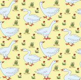 Goose gander vintage seamless vector pattern Stock Photos
