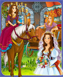 The goose girl - Prince or princess - castles - knights and fairies - illustration for the children. The happy and colorful illustration for the children Stock Images