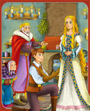 The goose-girl at the well - hamelin -Prince or princess - castles - knights and fairies - illustration for the children. The happy and colorful illustration for Royalty Free Stock Images