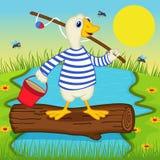 Goose goes fishing Stock Photos