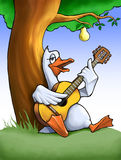 Goose with a guitar. Singing goose with guitar under the pear-tree, illustration Stock Images