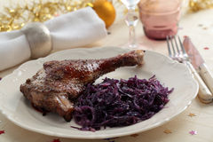 Goose leg on a Christmas table Stock Photography