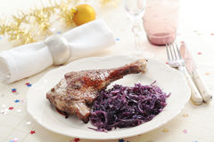 Goose leg on a Christmas table Royalty Free Stock Images