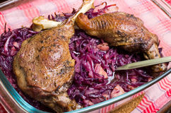 Goose legs baked on red cabbage Stock Photography