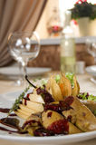 Goose liver. In the restaurant interior royalty free stock images