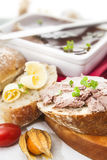 Goose liver and Sauternes pate with physalis, sliced bread and b Royalty Free Stock Photography