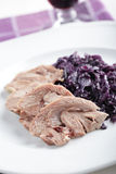 Goose meat with red cabbage Royalty Free Stock Image