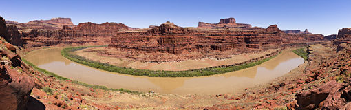 Goose Neck. Panorama of Goose Neck in Canyonlands Royalty Free Stock Photos