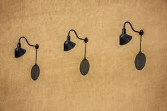 Free Goose Neck Wall Lights On Stucco Wall Building Stock Photos - 120241203