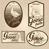 Goose pate vintage labels. For using in different spheres Royalty Free Stock Photos