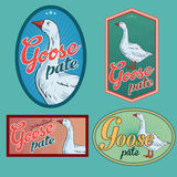 Goose pate vintage labels. For using in different spheres Royalty Free Stock Images