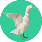 Goose in a polygon style. Fashion illustration of the trend in s. Tyle on a turquoise background. Farm animals Royalty Free Stock Photography