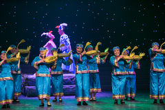 A goose shaped basket-Turtledove-Chinese folk dance. May 15, 2016, from Jiangxi province around the dancers gathered to exchange skills. At the Nanchang Stock Images