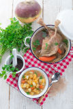 Goose - soup with red wine and thyme Stock Photography