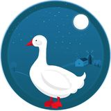 Goose vector illustration at farm night landscape royalty free illustration