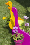 Goose wooden planter Stock Image