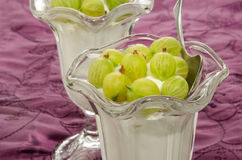 Gooseberries with fresh yogurt and spoon Stock Photography