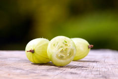 Gooseberries with green nature background. Some gooseberries placed on table with green nature background behind stock photography